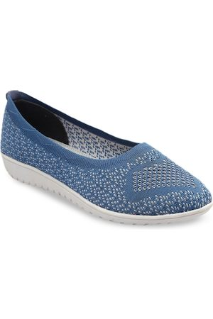 meriggiare Women Blue Woven Design Mesh Ballerinas