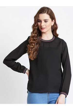 AkaAyu Women Black Solid Top