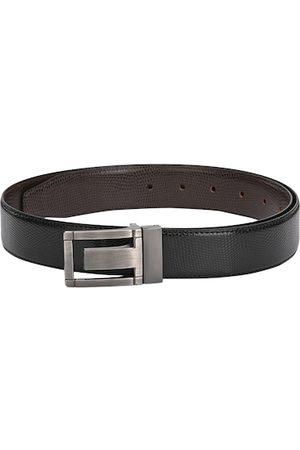 Calvadoss Men Black & Brown Textured Leather Reversible Belt