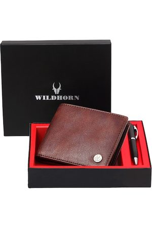 WildHorn Men Brown RFID Protected Genuine High Quality Leather Wallet & Pen Accessory Gift Set