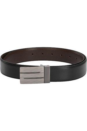 Calvadoss Men Black & Brown Reversible Textured Belt