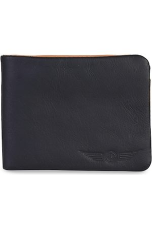 CHRISTOPOLO Men Navy Blue & Tan Brown Solid Leather Two Fold Wallet