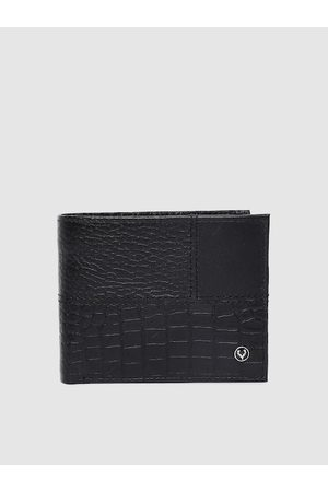 Allen Solly Men Black Textured Leather Two Fold Wallet