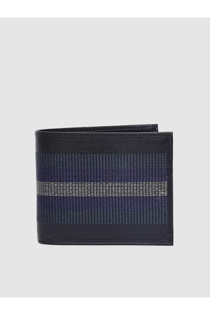 Allen Solly Men Blue & Black Textured Genuine Leather Two Fold Wallet