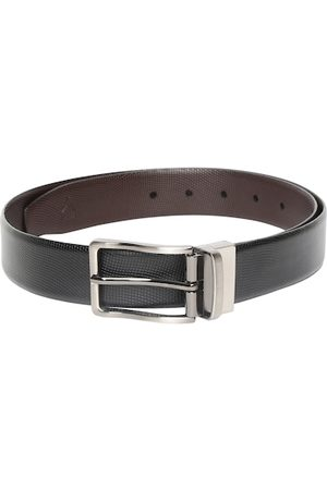 Allen Solly Men Black Textured Leather Belt