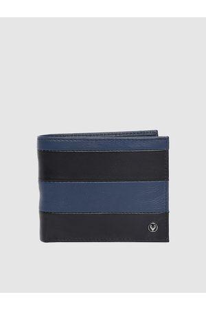 Allen Solly Men Black & Blue Colourblocked Genuine Leather Two Fold Wallet