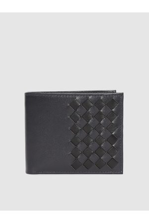 Allen Solly Men Navy Blue Leather Textured Two Fold Wallet