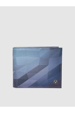 Allen Solly Men Blue Printed Leather Two Fold Wallet