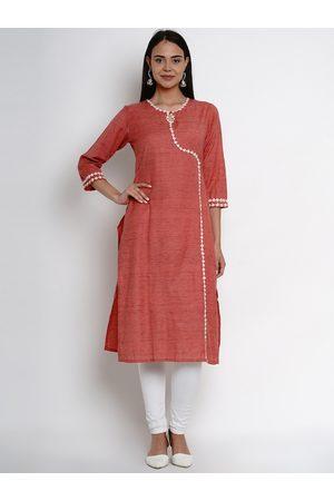 Bhama Couture Women Kurtas - Women Red Embroidered Straight Kurta