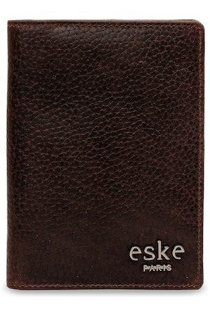 Eske Men Brown Solid Leather Passport Holder