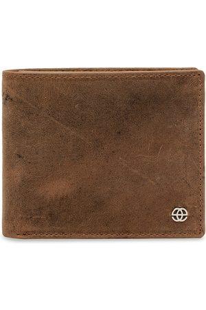 Eske Men Tan Brown Solid Leather Two Fold Wallet