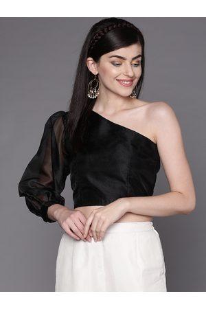 Inddus Women Black One-Shoulder Solid Crop Top