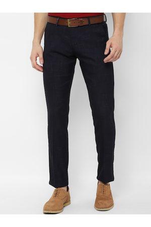 Allen Solly Men Navy Blue Slim Fit Self Design Formal Trousers