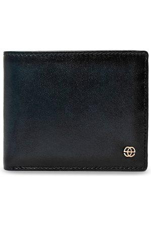 Eske Men Navy Blue Solid Leather Two Fold Wallet
