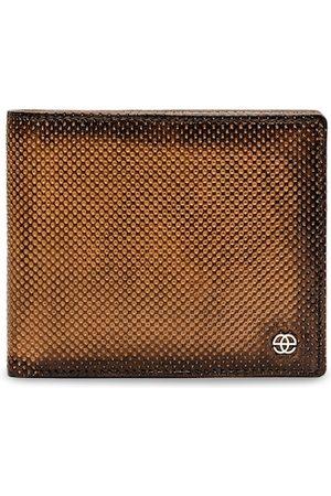 Eske Men Tan Brown Paris Brooks Leather Textured Two Fold Wallet
