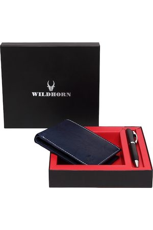 WildHorn Men Blue RFID Protected Genuine Leather Wallet & Pen Accessory Gift Set
