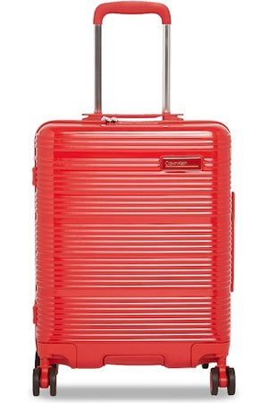 Calvin Klein Unisex Red Textured Globetrotter Hard-Sided Cabin Trolley Suitcase