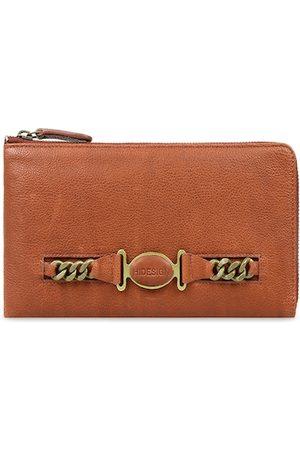 Hidesign Women Tan Brown Textured Zip Around Leather Wallet