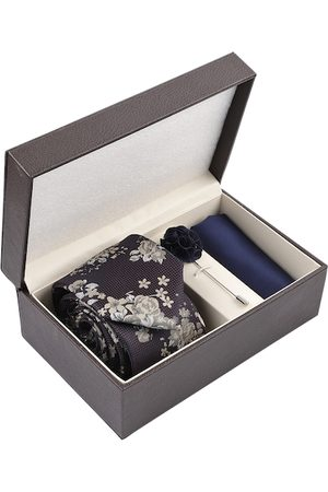Louis Philippe Men Navy Blue & Grey Accessory Gift Set