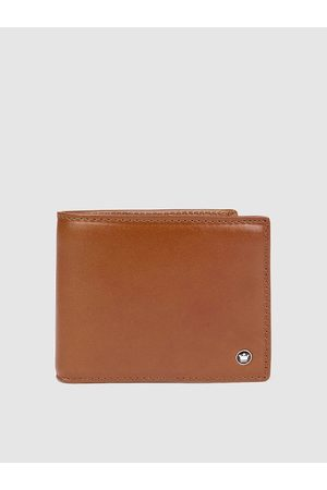 Louis Philippe Men Tan Brown Solid Leather Two Fold Wallet