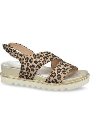 Bugatti Women Platform Sandals - Women Brown & Black Animal Printed Heels