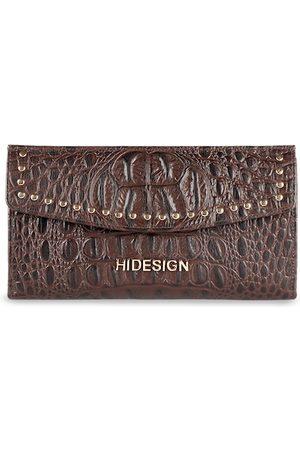 Hidesign Women Brown Textured Three Fold Leather Wallet