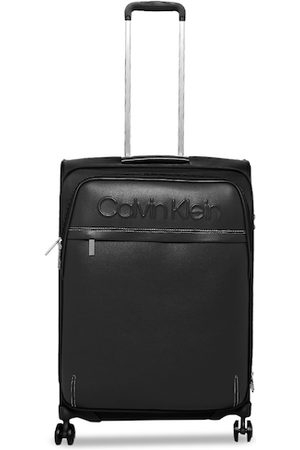 Calvin Klein Unisex Black Solid 360-Degree Rotation Soft-Sided Large Trolley Suitcase