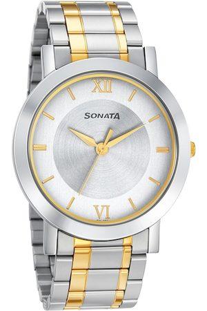 Sonata Utsav Men Silver-Toned Analogue Watch 77108BM02