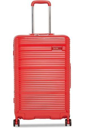 Calvin Klein Unisex Red Textured Globetrotter Hard-Sided Medium Trolley Suitcase