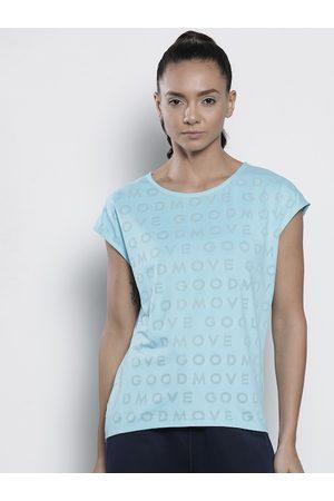 Marks & Spencer Women Blue Self Design Round Neck T-shirt