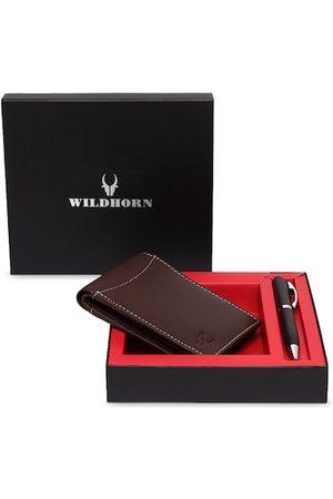 WildHorn Men Brown RFID Protected Genuine Leather Wallet & Pen Accessory Gift Set