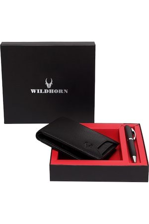 WildHorn Men Black RFID Protected Genuine Leather Wallet & Pen Accessory Gift Set
