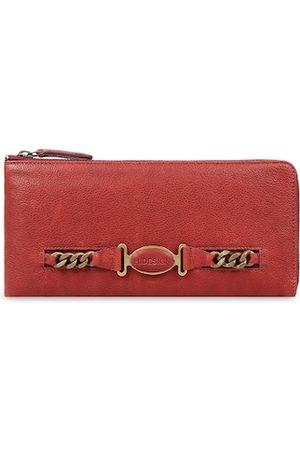 Hidesign Women Red Textured Zip Around Leather Wallet