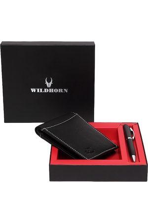 WildHorn Men Black RFID Protected Genuine Leather Wallet & Pen Accessory Gift Set