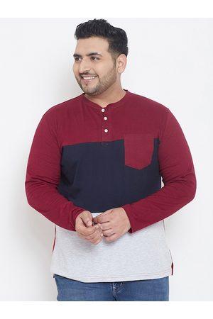 Bigbanana Plus Size Men Maroon Colourblocked Mandarin Collar T-shirt