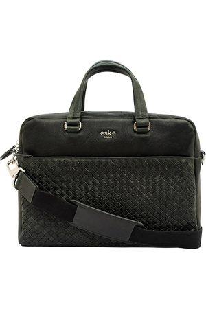 Eske Men Green Textured Brooks Leather Laptop Bag