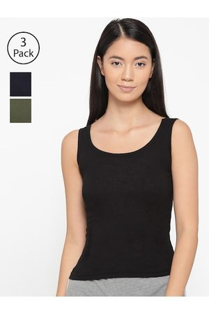 Lady Lyka Women Pack of 3 Solid Tank Top Camisoles CAMI-05-NVY-BLK-GRN