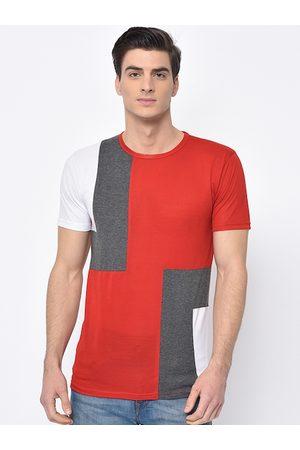 VIMAL JONNEY Men Red & Grey Colourblocked Round Neck T-shirt