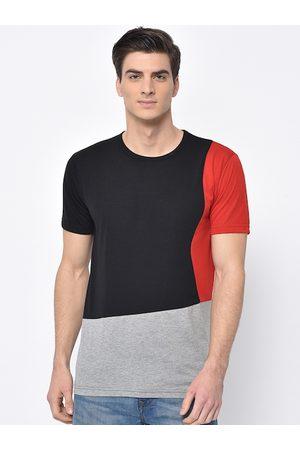 VIMAL JONNEY Men Black & Red Colourblocked Round Neck T-shirt
