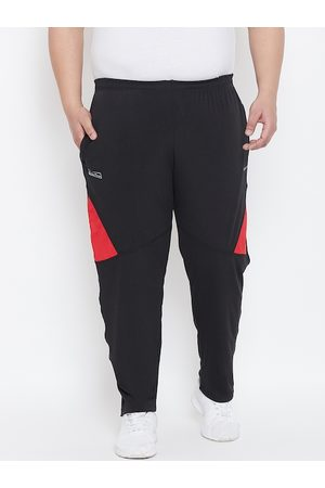 bigbanana Plus Size Men Black Solid Track Pants