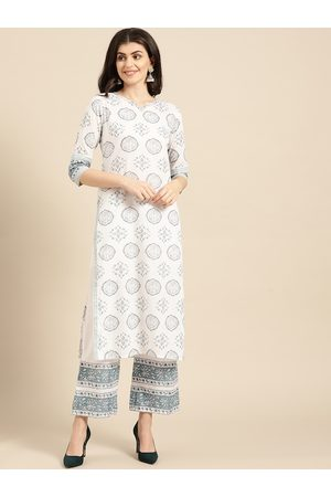 Varanga Women White & Blue Printed Kurta with Palazzos