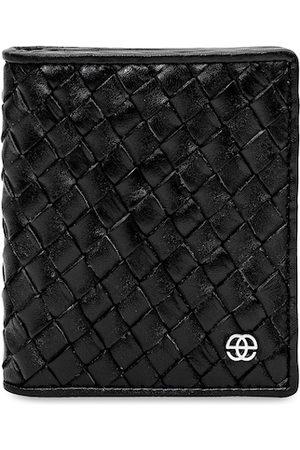 Eske Men Black Textured Card Leather Holder