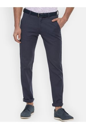 Van Heusen Men Navy Blue Slim Fit Solid Regular Trousers