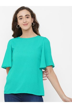 109F Women Green Printed A-Line Top