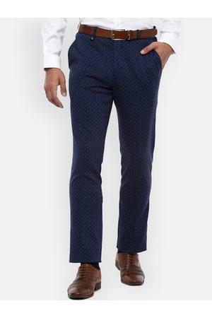 V Dot Men Slim Trousers - Men Navy Blue Slim Fit Printed Regular Trousers