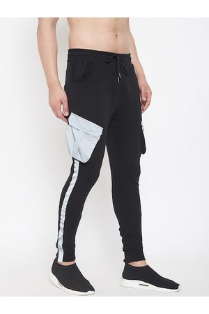 FUGAZEE Men Black Solid Slim-Fit Reflective Cargo Taped Joggers