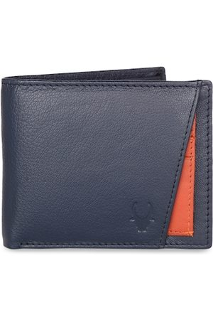 WildHorn Men Blue Solid RFID Protected Genuine Leather Two Fold Wallet