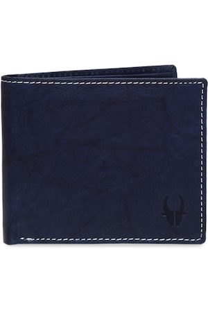WildHorn Men Navy Blue Solid RFID Protected Genuine Leather Two Fold Wallet