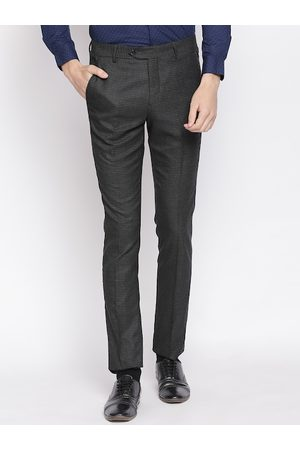 RICHARD PARKER by Pantaloons Men Grey Slim Fit Checked Formal Trousers