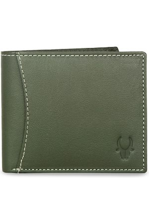 WildHorn Men Green Solid RFID Protected Genuine Leather Two Fold Wallet